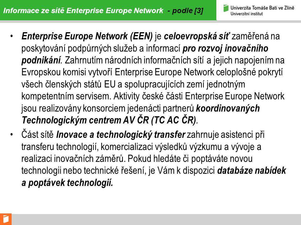 Informace ze sítě Enterprise Europe Network - podle [3]